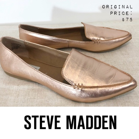 f9b93acb36c 💕 STEVE MADDEN Feather Loafer Flat Rose Gold 6.5